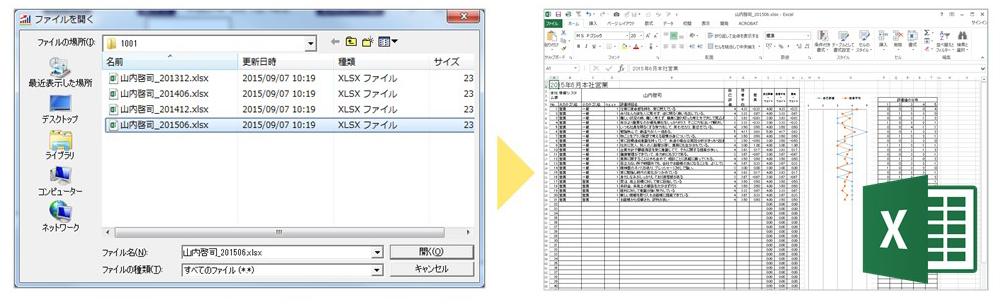 集計結果を格納。エクセルファイルで展開
